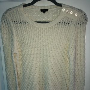 Talbots open weave cream sweater petite
